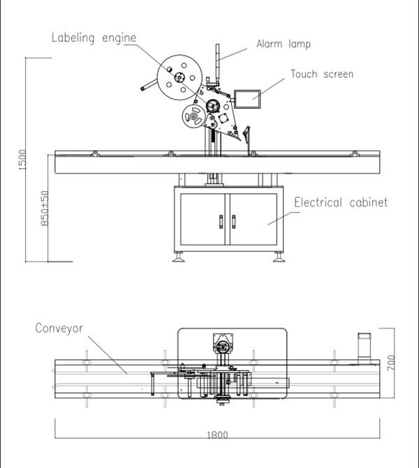 Automatisk flad top selvklæbende mærkningsmaskine